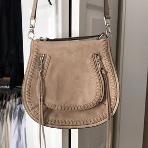 rebecca minkoff suede vanity saddle bag
